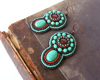 Bead embroidery Earrings Beadwork Turquoise Earrings Turquoise Brown Earrings Turquoise Dangle Earrings Ethnic Tribal jewelry MADE TO ORDER
