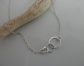 Forever linked circles anklet  on sterling silver chain