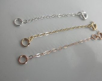 Chain extender on sterling silver, gold or rose gold