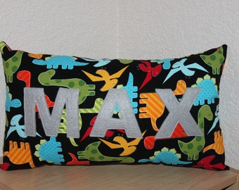 Dinosaur Name Pillow / Custom Kids Pillow / Name Pillow