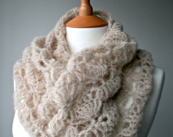 Crochet Pattern, scarf crochet pattern, lace silk crochet cowl pattern (161)