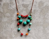 Contemporary statement necklace, emerald and red bib necklace, wooden bead, boho, free shipping.