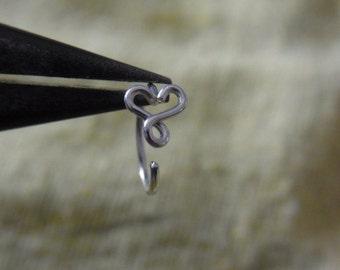 Infinity Heart Silver nose hoop/tragus/hoop earring (1 pc)