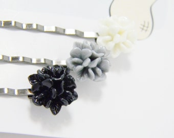 Bobby pin set, black, grey, white