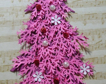 Pink Christmas Tree Embellishment -Christmas Tag, Scrapbook, Cards, Shabby Chic