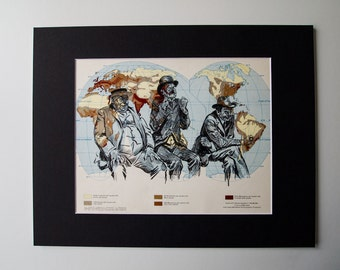 "mounted one of a kind map print - trio of old men on vintage map of the world 11 x 14"", ready to frame"