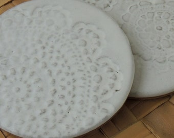 One Pair of Coasters, Trivets, White lace, Stoneware
