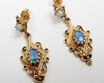 Opal 14k Gold Earrings Antique Victorian Revival  Iridescent Opalescent Gem, October Birthstone