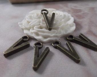 """5 Letter """"V"""" Antique Bronze Charms --- Antique Bronze Color"""