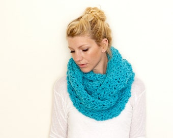 RTS - The CHARLOTTE Chunky Cowl Scarf Infinity Scarf Hooded Scarf - Aqua - limited quantities available