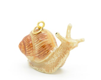 1 - Porcelain Snail Pendant Animal Hand Painted Glaze Ceramic Animal Small Ceramic Snail Vintage Jewelry Supplies Little Critterz (CA136)