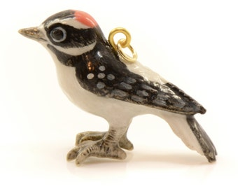1 - Porcelain Woodpecker Pendant Animal Hand Painted Ceramic Animal Bird Vintage Jewelry Supplies Little Critterz Porcelain (CA009)