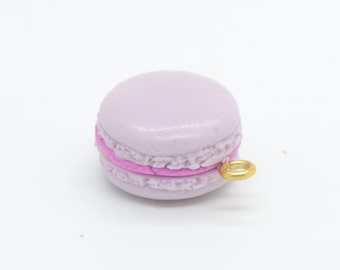 1 - Hand Made 3D Resin French Macaroon Cabochon Charm, macarons France Cute Purple Birthday Party Bakery Sweet Cafe Bake Lavender (F018)