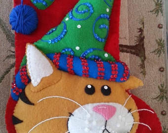 "Completed Feltworks Dimensions ""Festive Kitty"" Stocking"