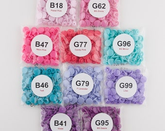250 Vibrant Girl SUPER STARTER Pack KAM Snap/Plastic Snaps for Cloth Diapers/Bibs Pink/Purple/Teal