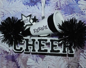 Personalized Black/White Cheerleader Christmas Ornament