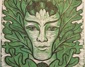 The Green Man linocut by Cynthia Cratsley Harrington