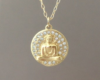 Gold Sparkling Buddha with Crystals Necklace