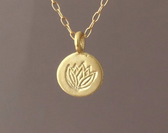 Tiny Gold Lotus Stamp Necklace also in silver