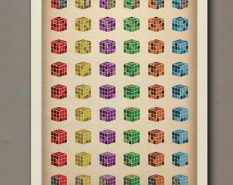 Rubiks Cube Print | 18 x 24 | Digital, Wall Decor, Poster Print, Modern Vintage