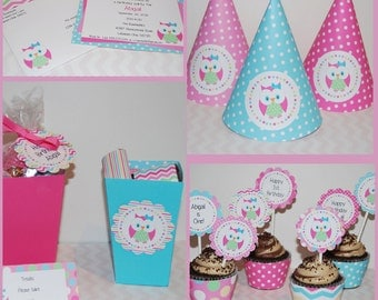 Owl,  Party Invitations & Decorations - Printable Party Kit - Editable Text you personalize at home - Instant Download