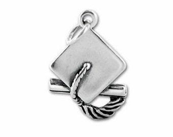 Graduation Cap & Diploma Charm - Sterling Silver