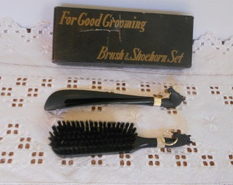 Vintage Brush and Shoehorn Set Men's Shoe Kit Gift for Him Horsehead Men's Accessory
