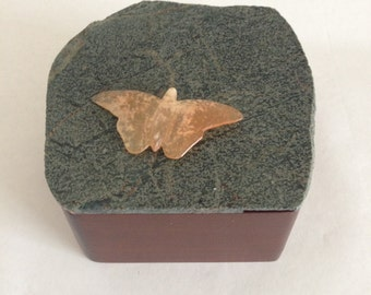 Wooden Box with Stone Lid - Green Stone with Orange Butterfly