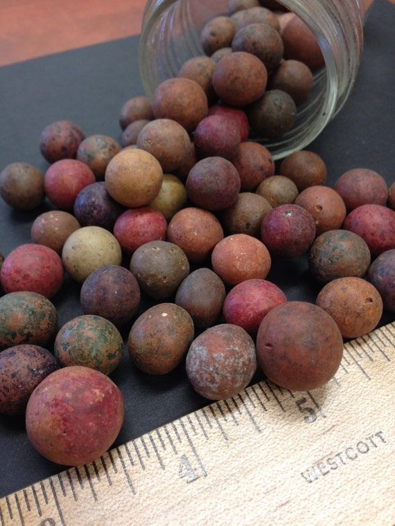 Antique Clay Marbles Lot Of 79