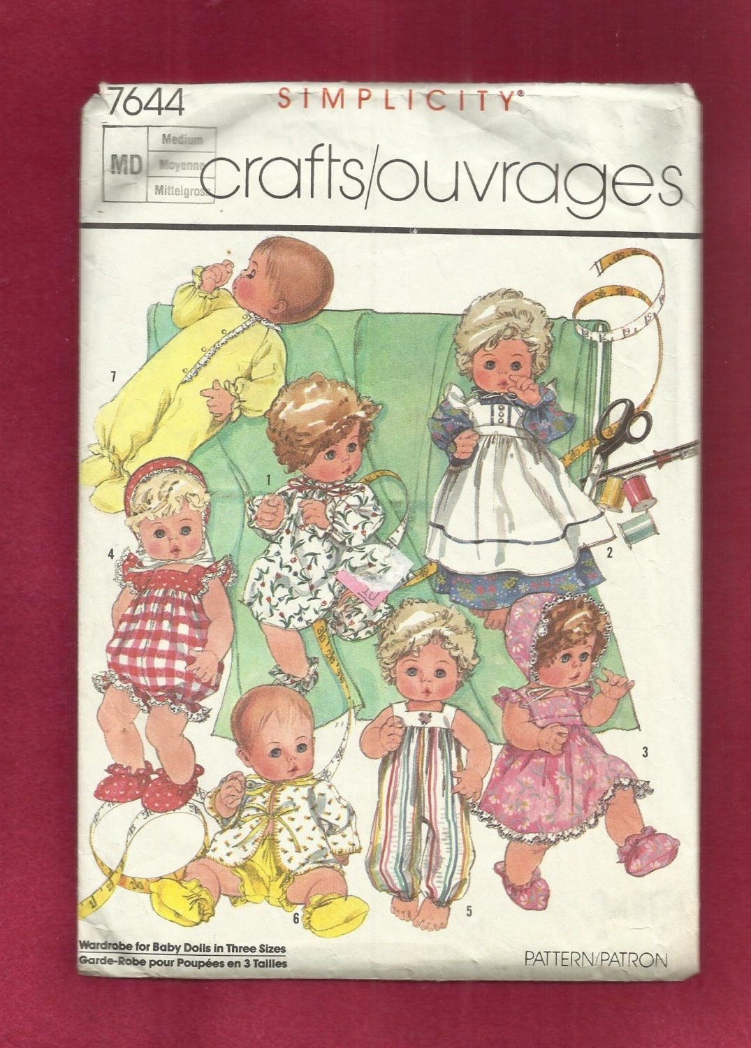 Vintage 1986 Simplicity 7644 Baby Doll Clothes Pattern