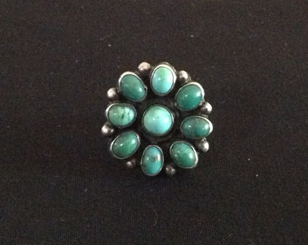 Native American Tribal Turquoise Flower Ring