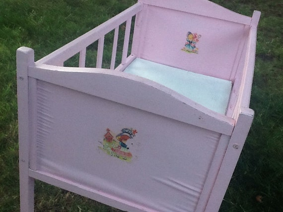 Vintage Pink Wooden Baby Doll Crib