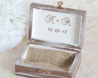 Personalized Rustic chic Ring bearer box- With this ring I thee Wed