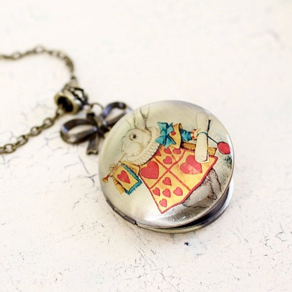 Alice in Wonderland Necklace Locket - Rabbit with a clock necklace - Victorian style