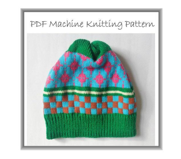 Machine Knitting Patterns Free Download : Beanie Hat Machine Knitting PDF Pattern Winter Cap Prem Baby
