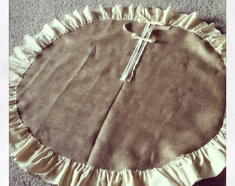 "60"" Burlap Tree Skirt with Muslin Ruffle"