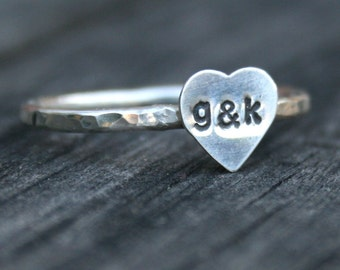 Personalized Sterling Silver Heart Ring  - Custom Initials