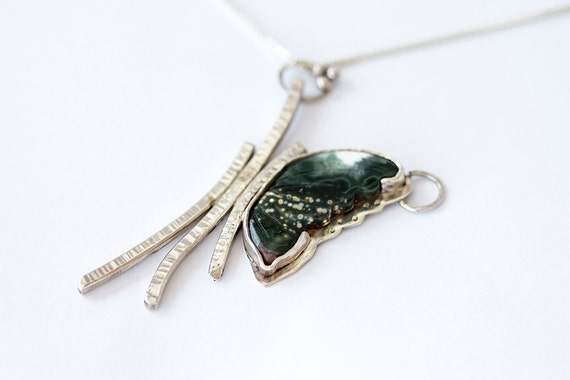 Green Butterfly Pendant Necklace - Silver pendant with Jasper Stone, artisan jewelry, one of a kind gift for her