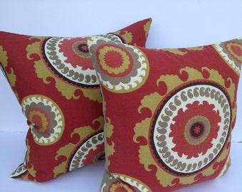 Suzani Duralee 18X18 Pillow Cover Designer Home Decor Fabric-Throw Pillow-Accent Pillow-Toss Pillow-Living Room Pillow