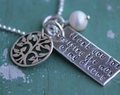 Handstamped Necklace - Mother In Law Necklace with Freshwater Pearl