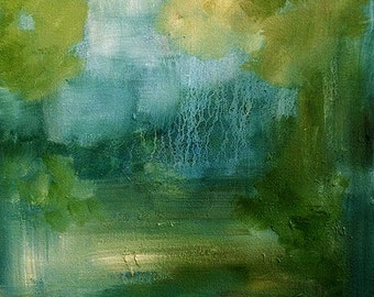 SALE, Abstract Landscape, Original Art, Oil Painting, Midnight Showers