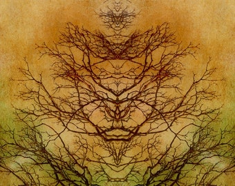 Tree of Life Abstract Mirror Image Rorschach Inkblot Tree Branches Gold Brown Green Square Digital Art Print or Giclee Gallery Wrap Canvas