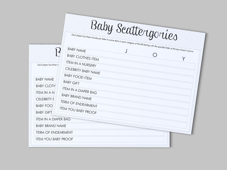 baby shower scattergories game customizable instant by lashepherd
