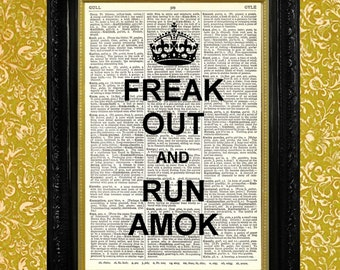 Keep Calm Parody, Freak Out and Run Amok Dictionary Page Print Recycled Vintage Book Page Upcycled Art Wall Hanging Home Decor
