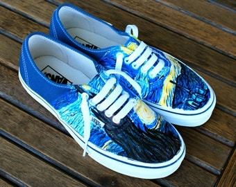 Hand Painted Starry Night Navy Vans Authentic - Custom Vincent Van Gogh Starry Night Vans Sneakers