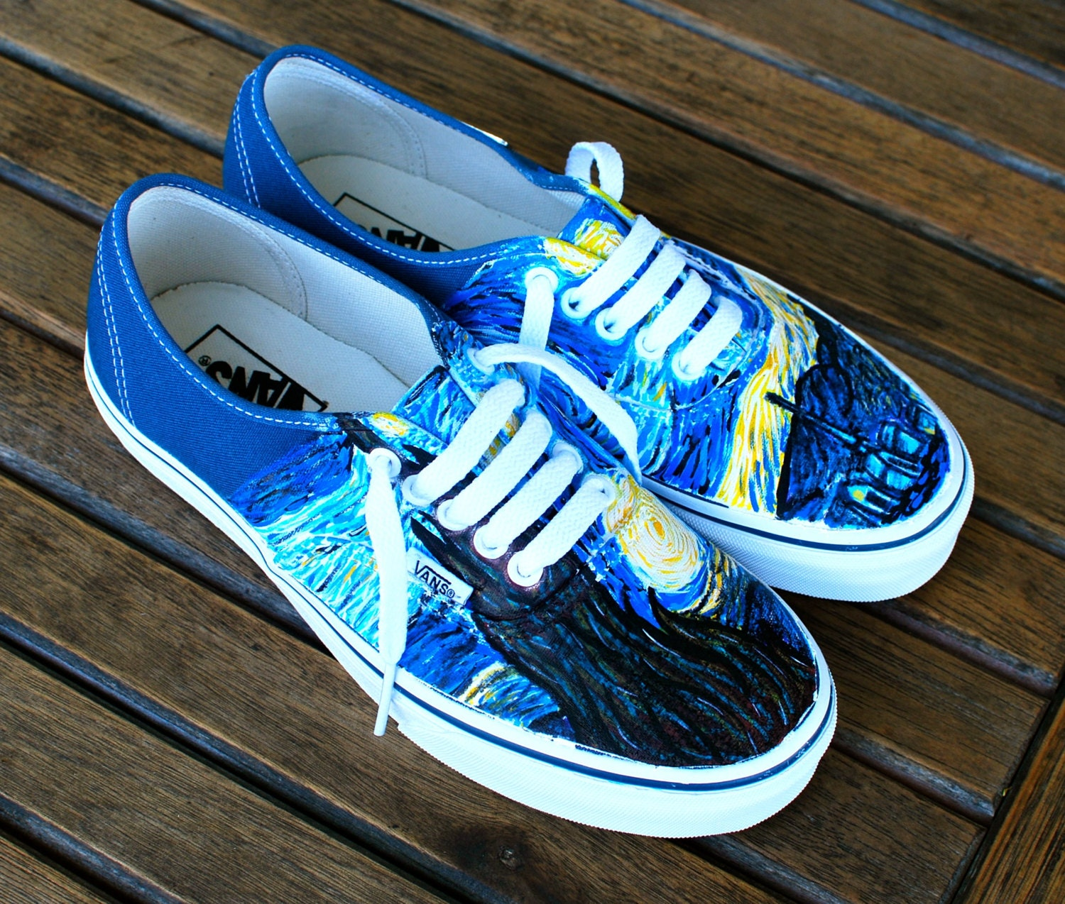 Hand painted starry night navy vans authentic custom vincent for La notte stellata