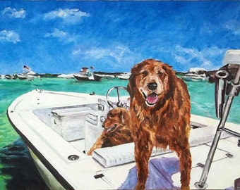 Personalized Pet Portrait Oil Painting XLarge commissioned Petmemorial Birthday Gift 30x48