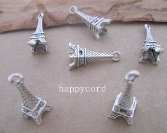20pcs of  Antique Silver Eiffel Tower pendant charm 8mmx22mm