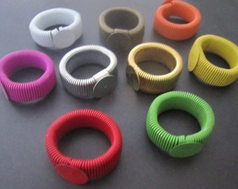 10pcs of retractable (Mixed color) Ring Blanks (ring base 12mm)