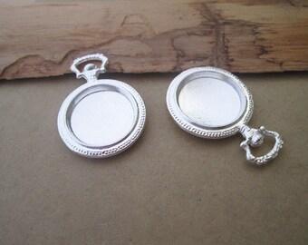 10pcs silver color Cobochon  Base  pendant charm 20mm